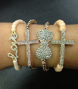 Set of 4 stacked bracelet sideway cross infinity rosegold silver love bow beige