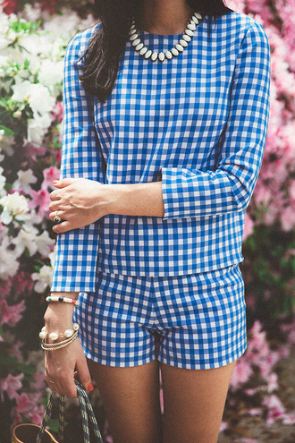 top shorts tumblr gingham matching set long sleeves necklace bracelets jewelry jewels printed shorts printed top spring outfits