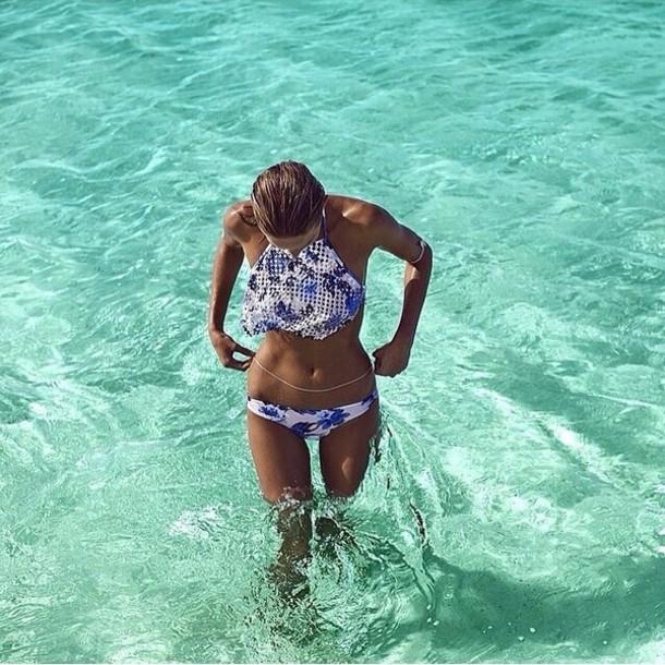 swimwear bikini blue pattern high neck top high neck bottoms bikini top blue bikini white bikini blue white bikinis bikini bottoms summer beauty