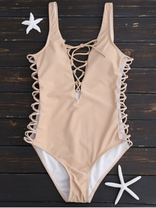 Amazon.com: Hollow Out One-piece Swimsuit for Women Front ...