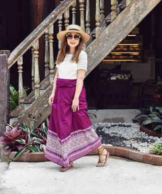 skirt french girl hat maxi skirt top white top white lace top lace top sun hat sandals flat sandals sunglasses