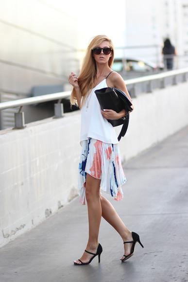 sirma markova shoes bag sunglasses skirt blouse blogger