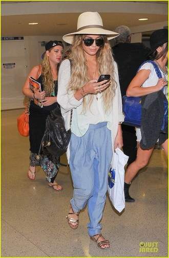 pants blue vanessa hudgens shoes blouse cardigan sunglasses hair accessory hat blue pants white top white sweater flats aviator sunglasses