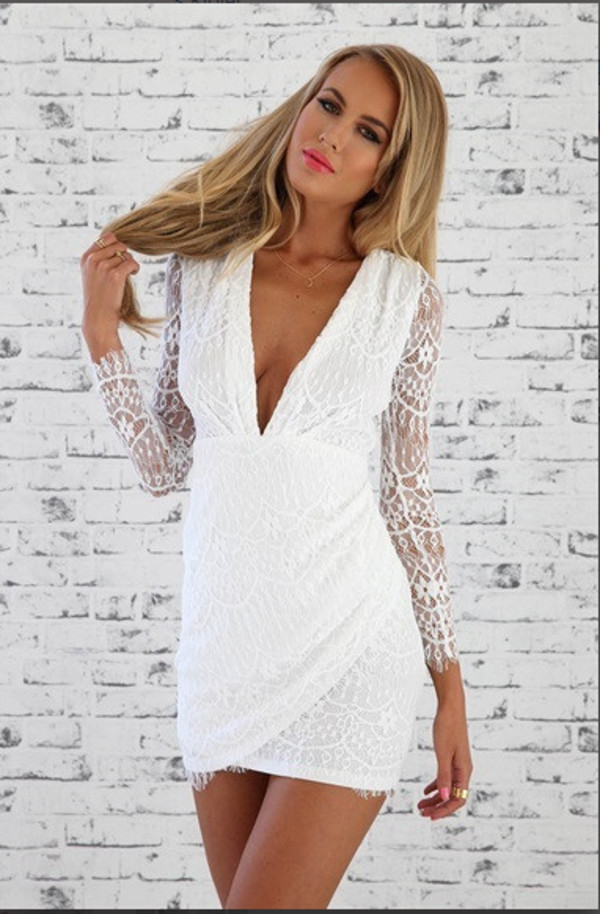 long lace sleeves white lace dress