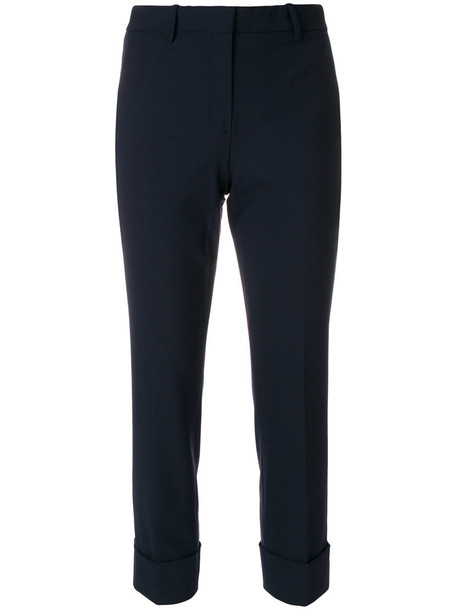 theory cropped women spandex cotton blue wool pants