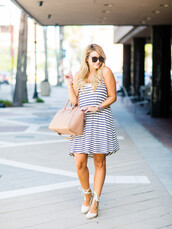 shop dandy,blogger,dress,shoes,bag,sunglasses,make-up,jewels,stripes,mini dress,nude bag,lace up heels,white heels,striped dress,summer dress,summer outfits,givenchy,givenchy bag,espadrilles,wedge sandals,wedges