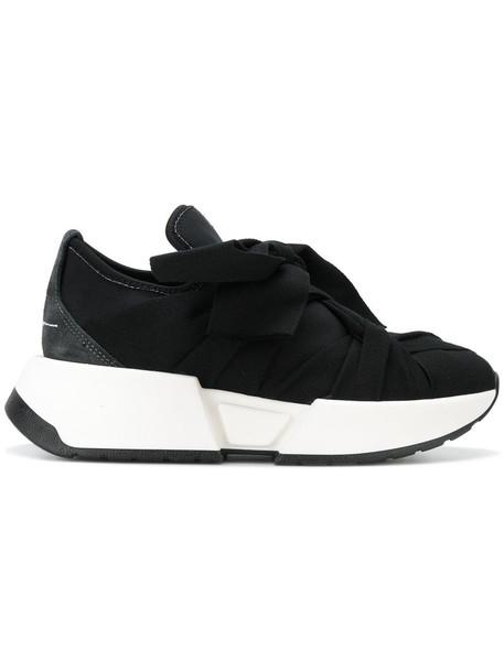 Mm6 Maison Margiela women sneakers platform sneakers cotton suede black shoes