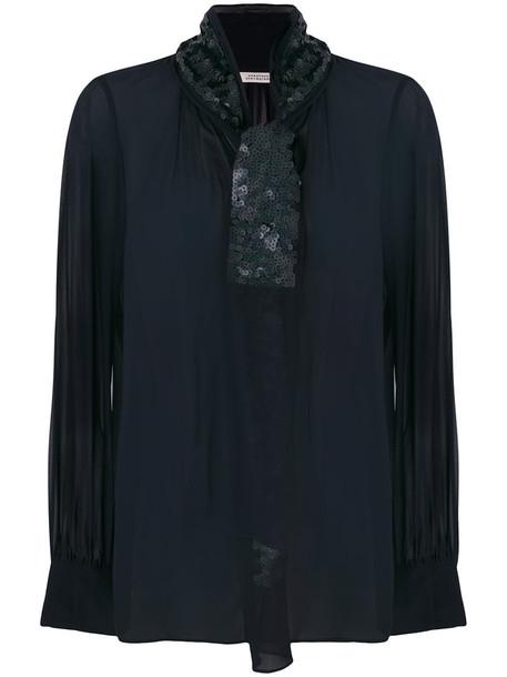 Dorothee Schumacher blouse sequin blouse women embellished blue silk top