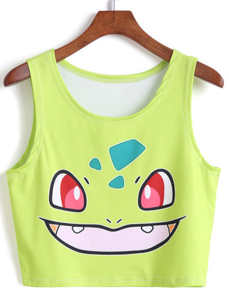 tank top pokemon bulbasaur cartoon 90s style geek