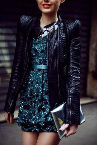 jacket leather jacket glitter dress silver necklace silver clutch fashion style snake print dress jewels bag