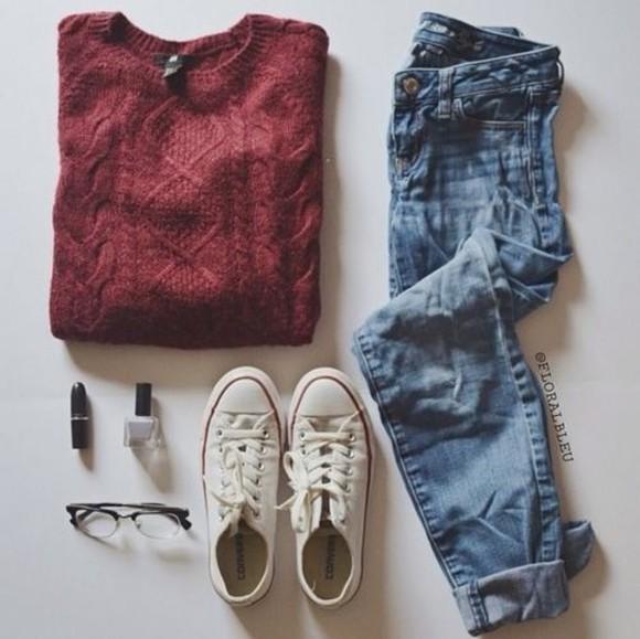oversized sweater warm sweater winter sweater red knit sweater sweater weather cuffed jeans denim converse raybands