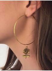 jewels,rose,rose gold,earrings,hoop earrings,gold,gold jewelry,roses,red,red rose,rose red