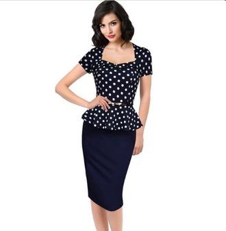 dress vintage dress pencil dress polka dots workwear dress bodycon dress elegant dress