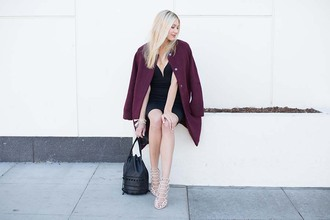 modern ensemble blogger dress coat shoes bag jewels