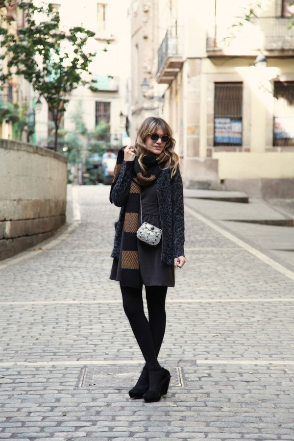 my daily style dress sweater scarf bag shoes sunglasses