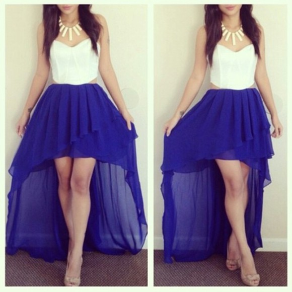 skirt color high low skirts corset top dress blue skirt blue neon long shirt blue long skirt white , corset top