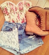 tank top,shorts,shoes,shirt,floral,corset,lace,lace corset,corset top,flowers,floral corset,floral top,boned corset,sleeveless,pants,jean short with lace,brown compact boots,floral pink,and cream,jeans,the whole outfit please,cropped shirt,and shorts and shoes,bag,tumblr,boots,High waisted shorts,bustier,blouse,top,floral bustier,vintage,camel boots