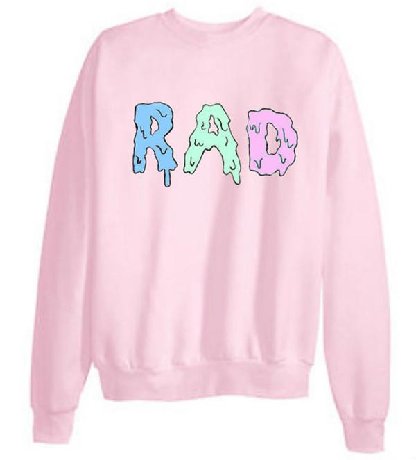 sweater pink radical tumblr clothes cute rad crewneck freshtops tumblr hipster jacket