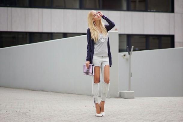 meri wild blogger top jeans cardigan bag jewels shoes make-up