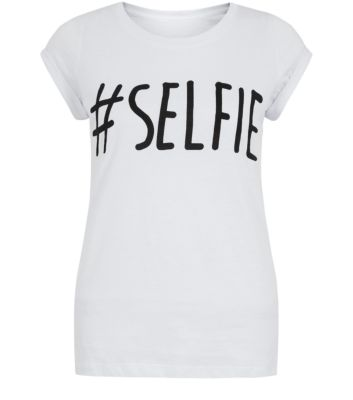 Teens White Hashtag Selfie Roll Sleeve T-Shirt