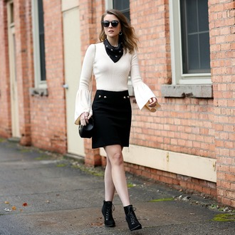 pennypincherfashion blogger sweater skirt scarf shoes bag jewels sunglasses bell sleeve sweater black skirt ankle boots