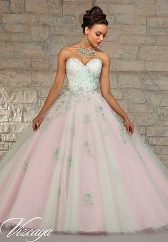 dress morille mint & bubble color quinceañera    dress quinceanera dress