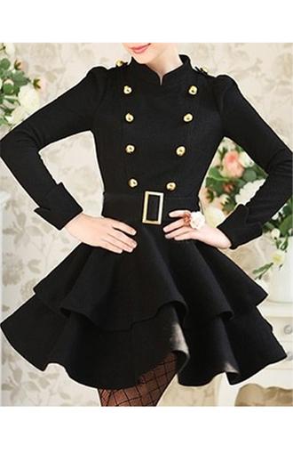jacket black belt gold buttons cute classy black and gold dressy dress