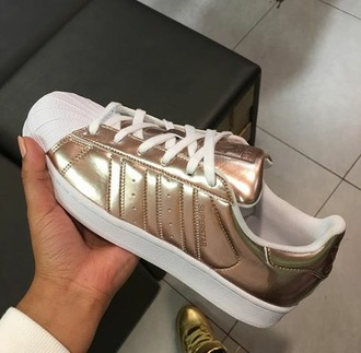 shoes adidas superstars metallic gold & white needs these in my life adidas feen $$$$