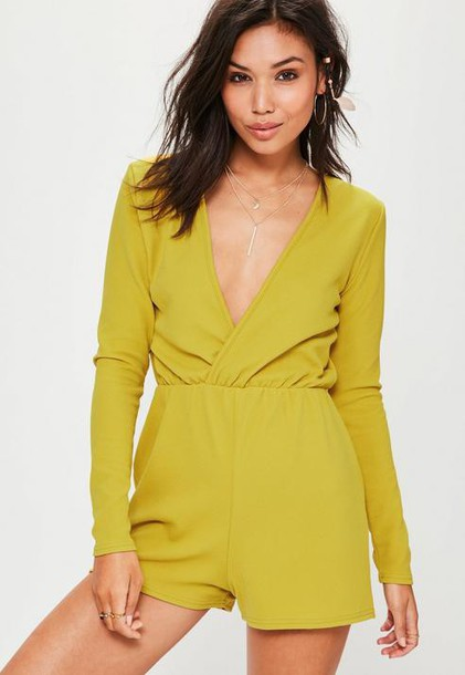 Missguided Green Crepe Long Sleeve Wrap Playsuit