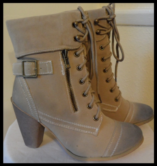 ★ beige high heel lace up military boots shoes biker buckle ankle zip size 8 3 4