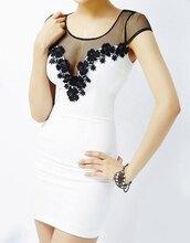 dress,little white dress,black flower dress,black on white,tight fit dress,bodycon dress,kfashion,sexy dress,cute dress,short dress,ulzzang