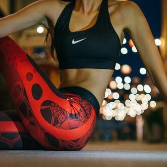 leggings nike red tribal pattern pattern wifebeater workout leggings gym clothes crop tops cute black black and red