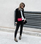 ms treinta,blogger,jacket,sweater,jeans,shoes,bag,blazer,black jacket,black pants,ankle boots,fall outfits