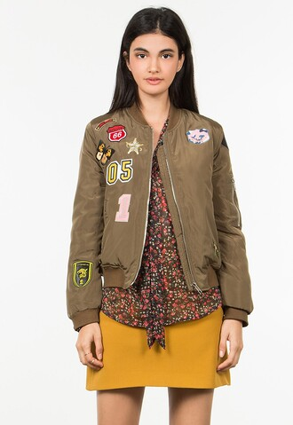jacket bomber jacket patch olive green camouflage