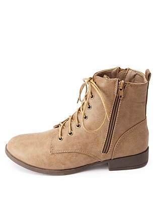 Up Double Zipper Short Combat Boots: Charlotte Russe