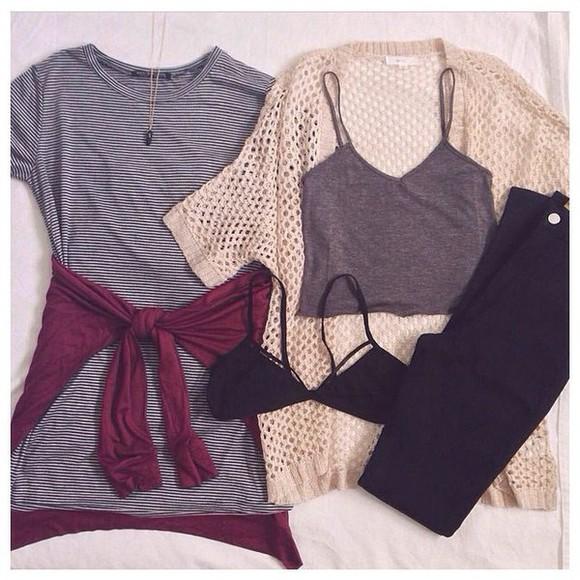 striped shirt grey crop top tan cardigan and the black bra maroon cardigan