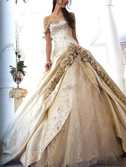 wedding dress gown lace dress gold dress gold floral dress style sweetheart dresses a-line wedding dresses sweet 16 dresses