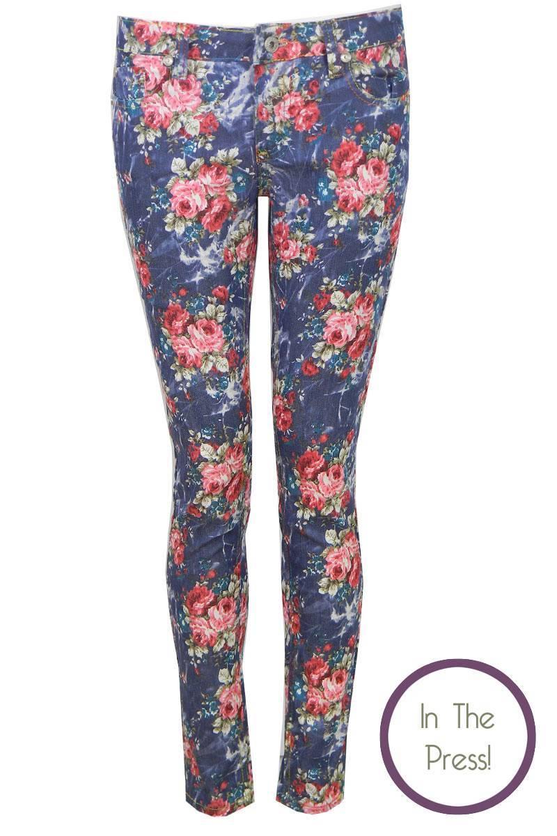Maisie Floral Print Skinny Jean in Navy