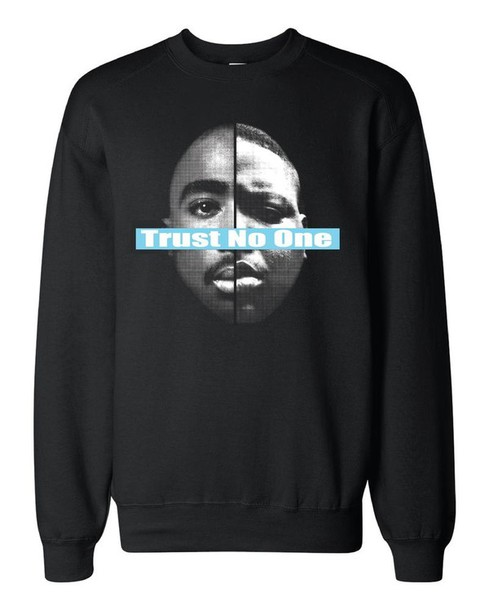 sweater biggie smalls tupac trust no one black sweater