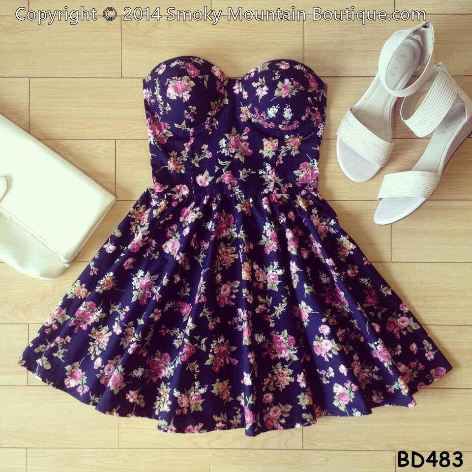 Claire floral multi color bustier dress with adjustable straps