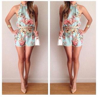 romper floral dress floral dress jumpsuit fashion flowered shorts mint dress mint romper