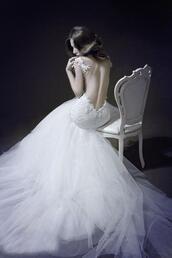 dress,wedding clothes,wedding dress,white dress,opened back dress