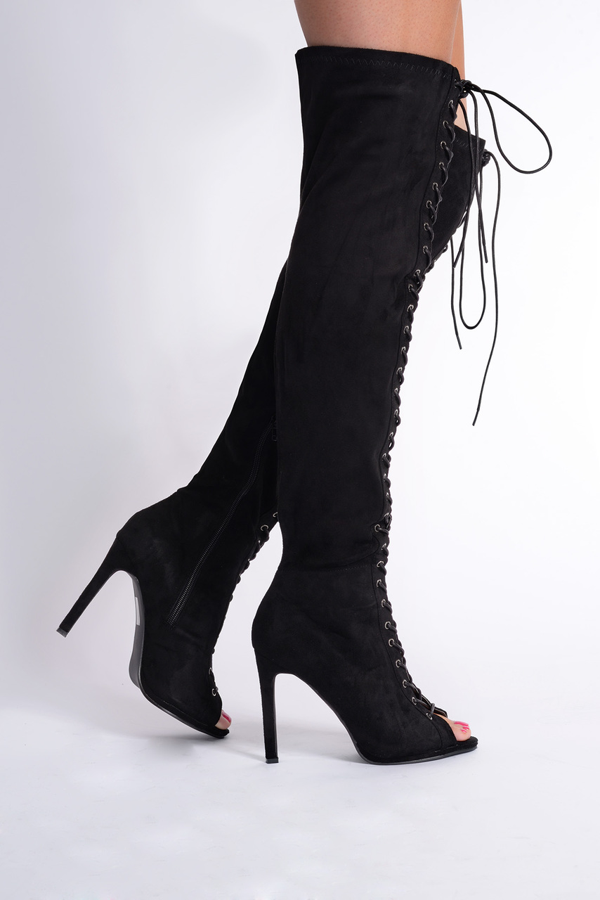 Reah New Faux Suede Black Over The Knee Boots