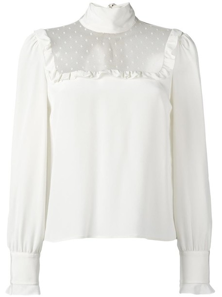 RED VALENTINO blouse sheer women nude silk top