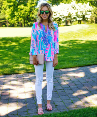 top printed top neon top multicolor weekend outfits jeans white jeans bag nude bag slippers pink slippers spring outfits sunglasses mirrored sunglasses