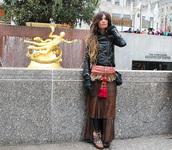 madame rosa,blogger,skirt,fringes,black jacket,jacket,sweater,shoes,bag,gloves,jewels
