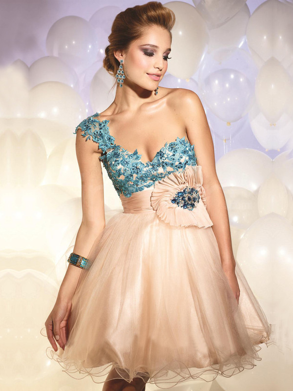 dress tumblr clothes prom dress One-shoulder Mini Homecoming Dress
