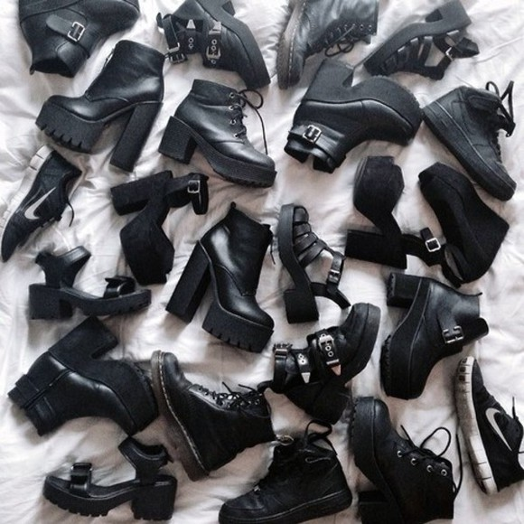 cut out ankle boots black boots platform shoes chelsea boots