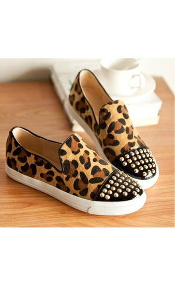 shoes spiked shoes leopard print studded shoes loafers