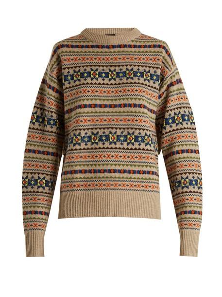 Joseph sweater slit wool knit beige